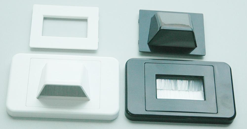 Bullnose wallplate with brushes for AV installations